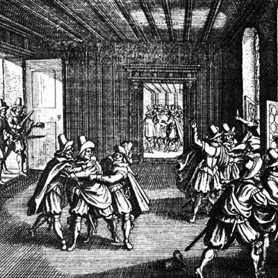 23rd May 1618: Officials thrown from a window in the Second Defenestration of Prague