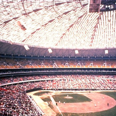 20th April 1965: Windows of the Houston Astrodome painted to stop glare