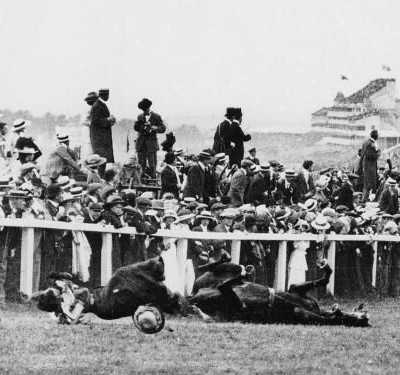 4th June 1913: Suffragette Emily Davison hit by a racehorse at Epsom Derby