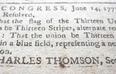 14th June 1777: Stars and Stripes adopted as the flag of the USA by the Second Continental Congress