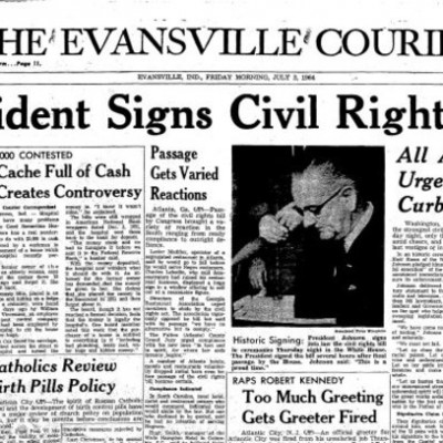 2nd July 1964: Civil Rights Act signed into law by Lyndon B. Johnson