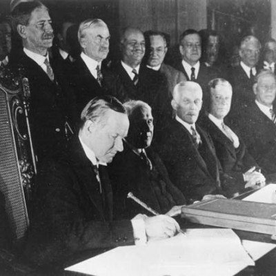 27th August 1928: The Kellogg-Briand Pact is signed