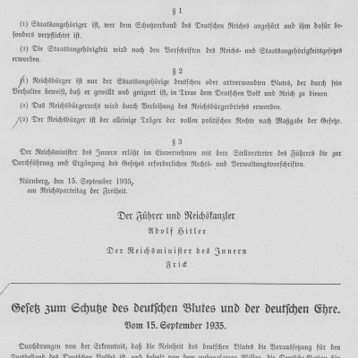 15th September 1935: 'Nuremberg Laws' introduced in Germany