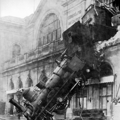 22nd October 1895: Granville-Paris express train crashes through a wall in Paris