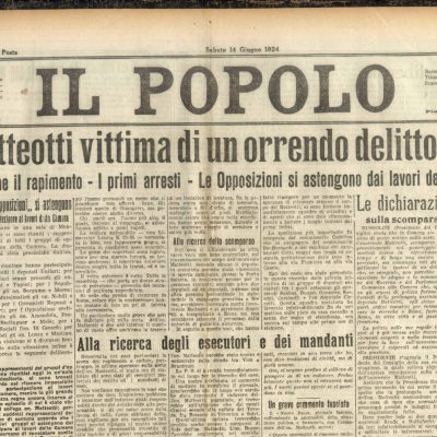 10th June 1924: Italian politician Matteotti kidnapped and murdered by Fascists