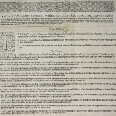 11th January 1569: First recorded lottery drawn in England under Elizabeth I