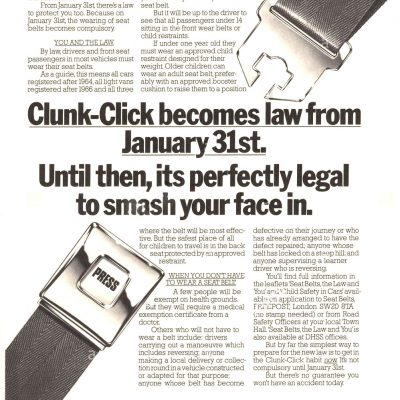 31st January 1983: It became compulsory for drivers in the UK to wear a seat belt