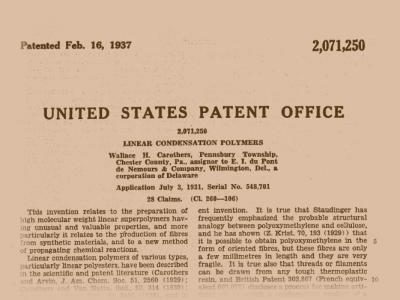 16th February 1937: Organic chemist Wallace Carothers is awarded a patent for nylon