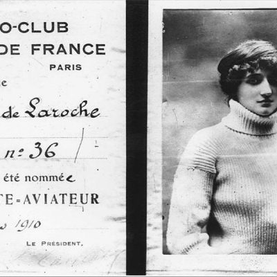 8th March 1910: First female pilot's license awarded to French actress Raymonde de Laroche