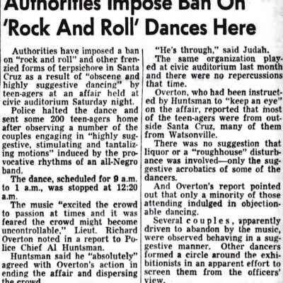 3rd June 1956: Rock and Roll music banned in the Californian city of Santa Cruz