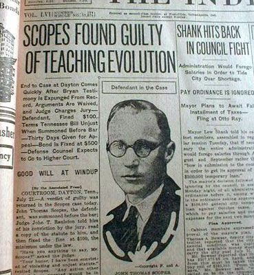 21st July 1925:  'Monkey Trial' finds John T. Scopes guilty of teaching evolution