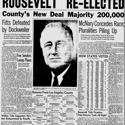 5th November 1940: President Roosevelt elected for an unprecedented third term