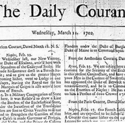 11th March 1702: First edition of the Daily Courant, the first daily English-language newspaper