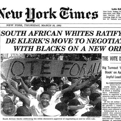 17th March 1992: White South Africans vote to end apartheid in a referendum