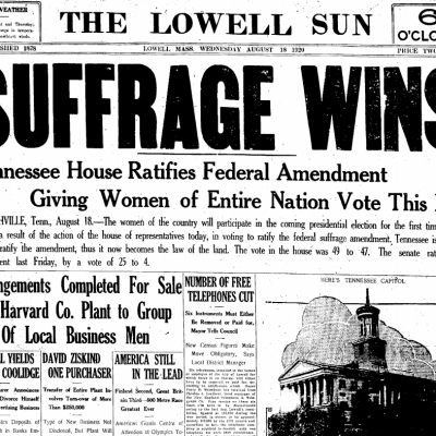 18th August 1920: Ratification of the 19th Amendment of the US Constitution guarantees female suffrage