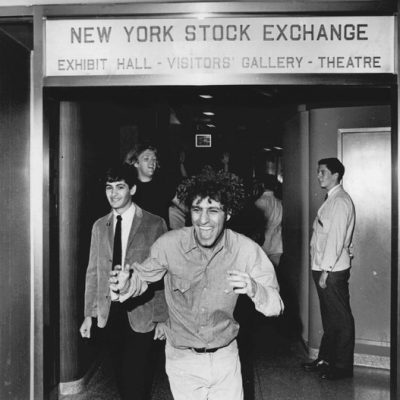 24th August 1967: Abbie Hoffman throws money inside the NY Stock Exchange