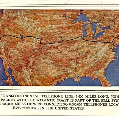 29th July 1914: Successful voice test of the first transcontinental telephone line between New York and San Francisco