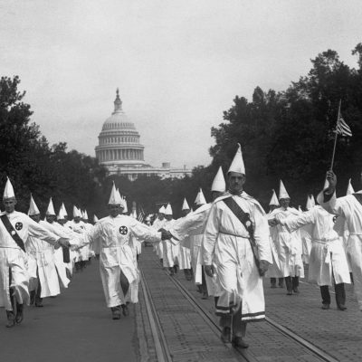 8th August 1925: More than 50,000 members of the Ku Klux Klan stage a march in Washington D.C.