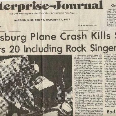 20th October 1977: Lynyrd Skynyrd's plane crashes during an emergency landing, killing three members of the band