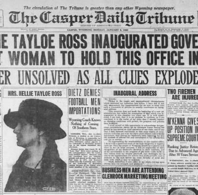 5th January 1925: Nellie Tayloe Ross becomes the first woman in the United States to be sworn in as governor of a state