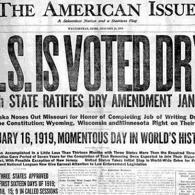 16th January 1919: Nebraska becomes the vital 36th of the 48 states to approve prohibition in the 18th Amendment