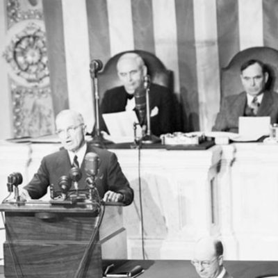 12th March 1947: Truman Doctrine established when the President asks for aid to Greece and Turkey
