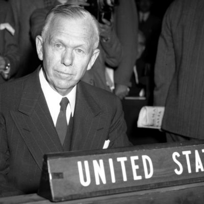 5th June 1947: U.S. Secretary of State George C. Marshall delivers a speech at Harvard University outlining his financial plan for post-war Europe